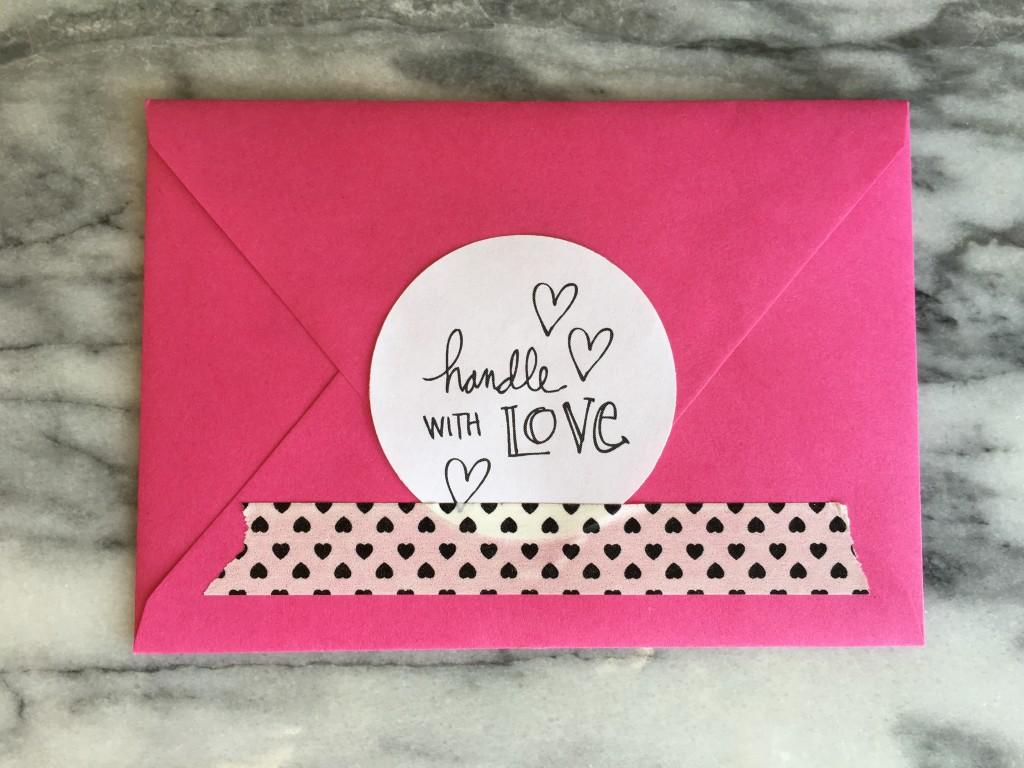 Handle with love envelope sticker