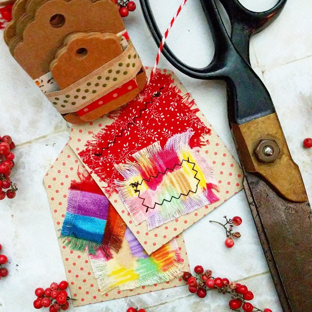 DIY gift tags with frayed fabric